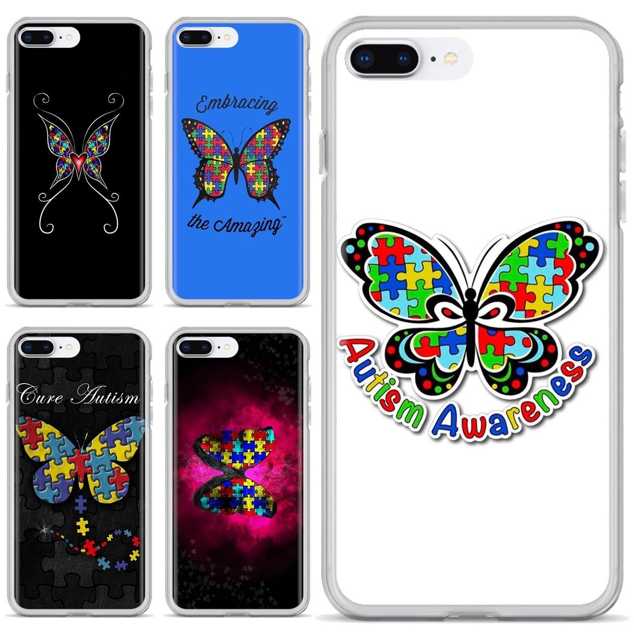 Para Samsung Galaxy A10 A30 A40 A50 A60 A70 S6 activo Nota 10 Plus M30 bolso suave caso hermoso de concienciación sobre el autismo de la mariposa