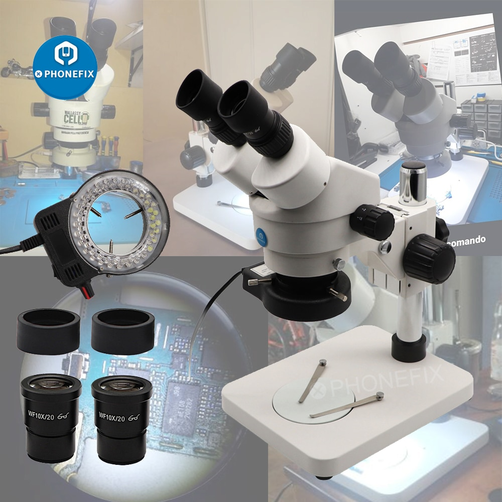 Soporte de pilar de mesa 7X-45X, Microscopio Binocular estéreo con Zoom, placa...