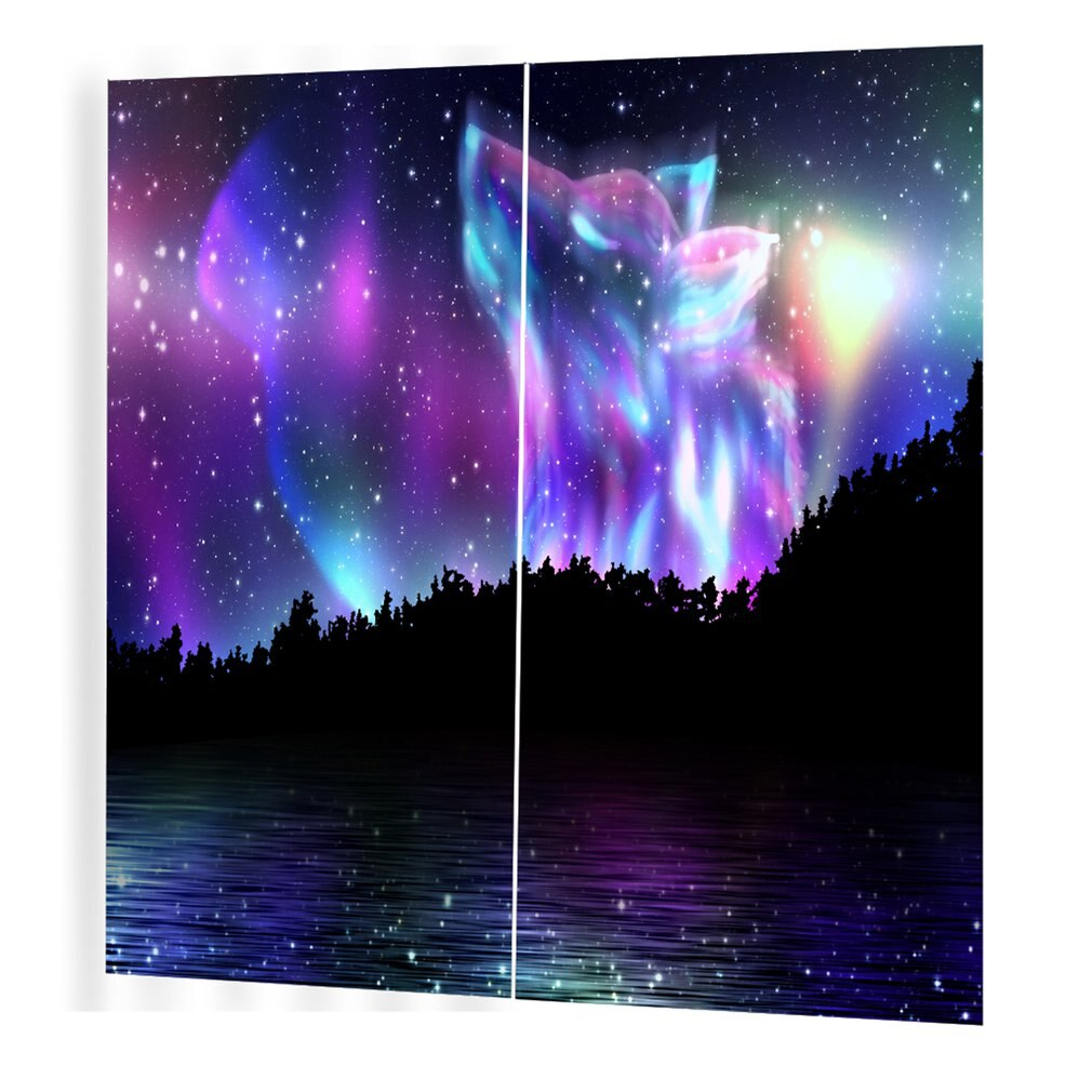 Espíritu del lobo patrón cortinas divisoras agradable cortina de ventana 150*166 cortinas románticas para sala de estar