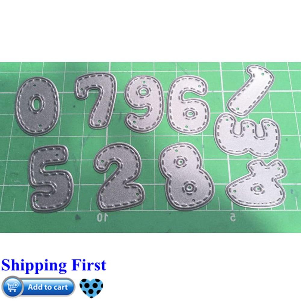 0-9 Набор цифр для резки металла 3D DIY Скрапбукинг углеродный острый ремесло Die фото украшение для пригласительных открыток 97x57mm