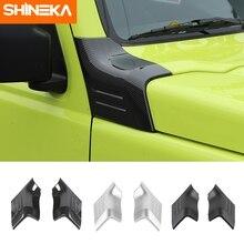 SHINEKA voiture autocollants pour Suzuki Jimny 2019 + ABS Fiber de carbone mat noir rouge capot décalcomanie couverture garniture pour Suzuki jimny 2019 2020