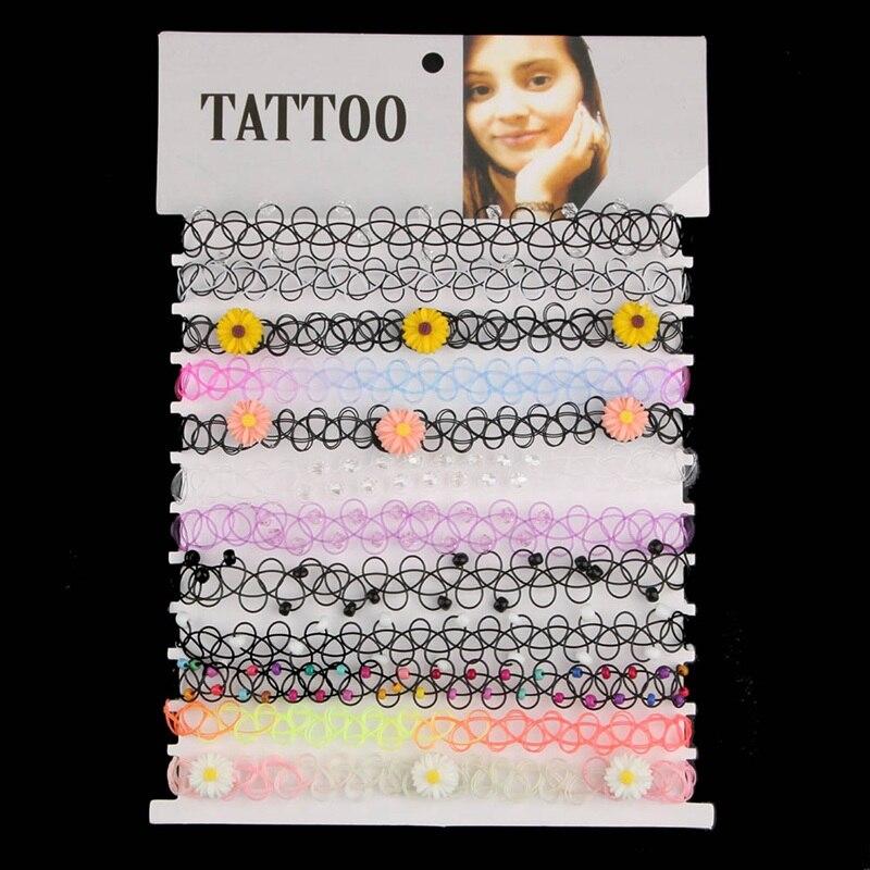 12 unids/set línea de pescado Chokers tatuaje Arco Iris Chokers Vintage flores chicas estiramiento gótico Punk elástico Collares mujer joyería