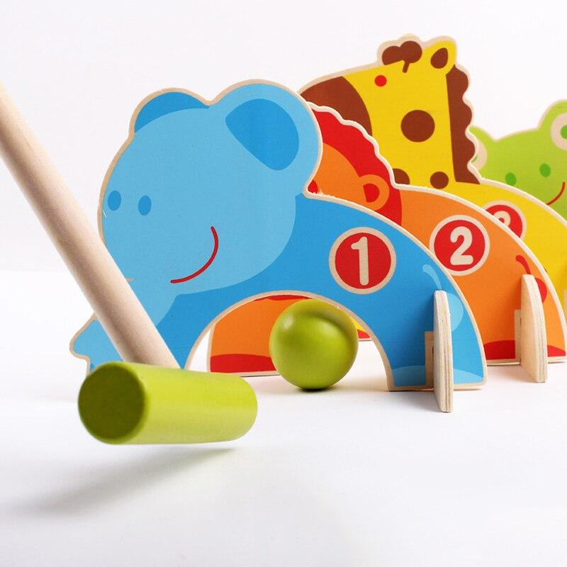 Wooden Animal Door Ball Enducation Toys For children Croquet Cue Sport Indoor Mini Golf Outdoor Sports Toy