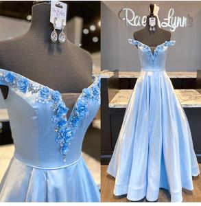 2020 prom dress sky blue floor length rose flowers cap sleeve a-line formal gowns vestido de brillo charming new vestido glitter