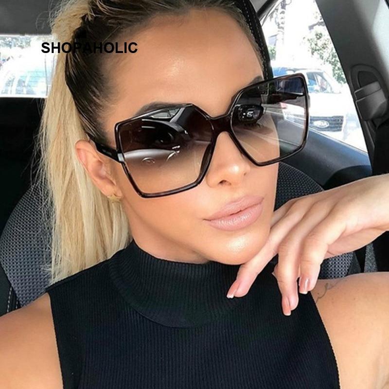 Black Square Oversized Sunglasses Women Big Frame Colorful Sun Glasses Female Mirror Oculos Unisex G