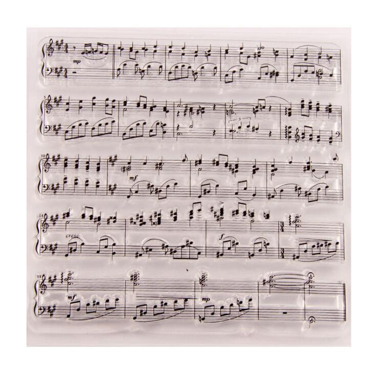 10x10cm notas de música símbolo transparente claro silicone selo/selo para diy álbum de fotos decorativo pasta papel que faz modelos