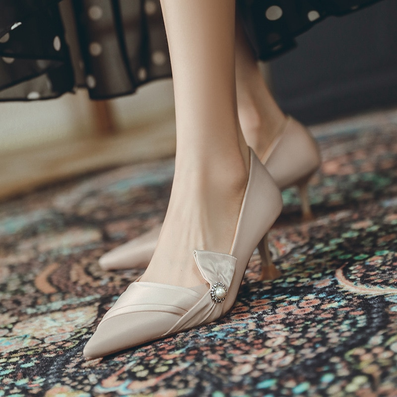 Luxury Women Pumps 2021 High Heels Basic Sexy Pointed Toe Slip-on Wedding Party Fashion Shoes For Lady Size Mother's Day Gift