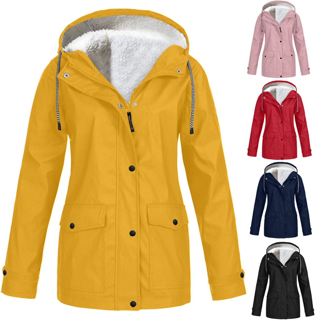 Зимняя флисовая утепленная куртка для альпинизма, уличная Водонепроницаемая непромокаемая куртка, Женское пальто большого размера с капюш...