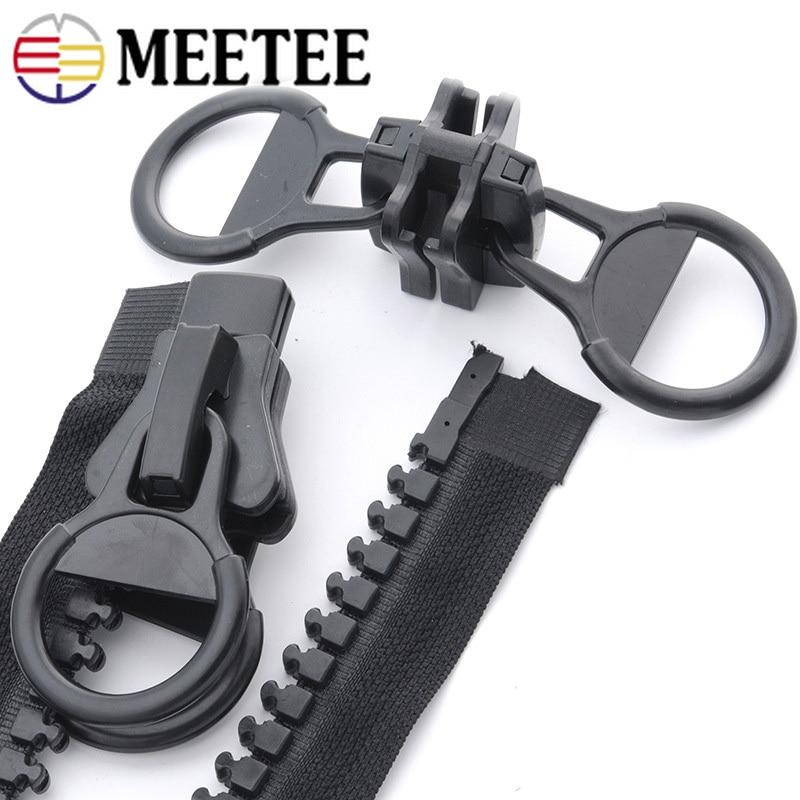Meetee 60-200cm 20# Oversize Resin Zipper Black Double-sided Zip Puller Open-end Zippers for Jacket Coat Tent DIY Sew Accessory