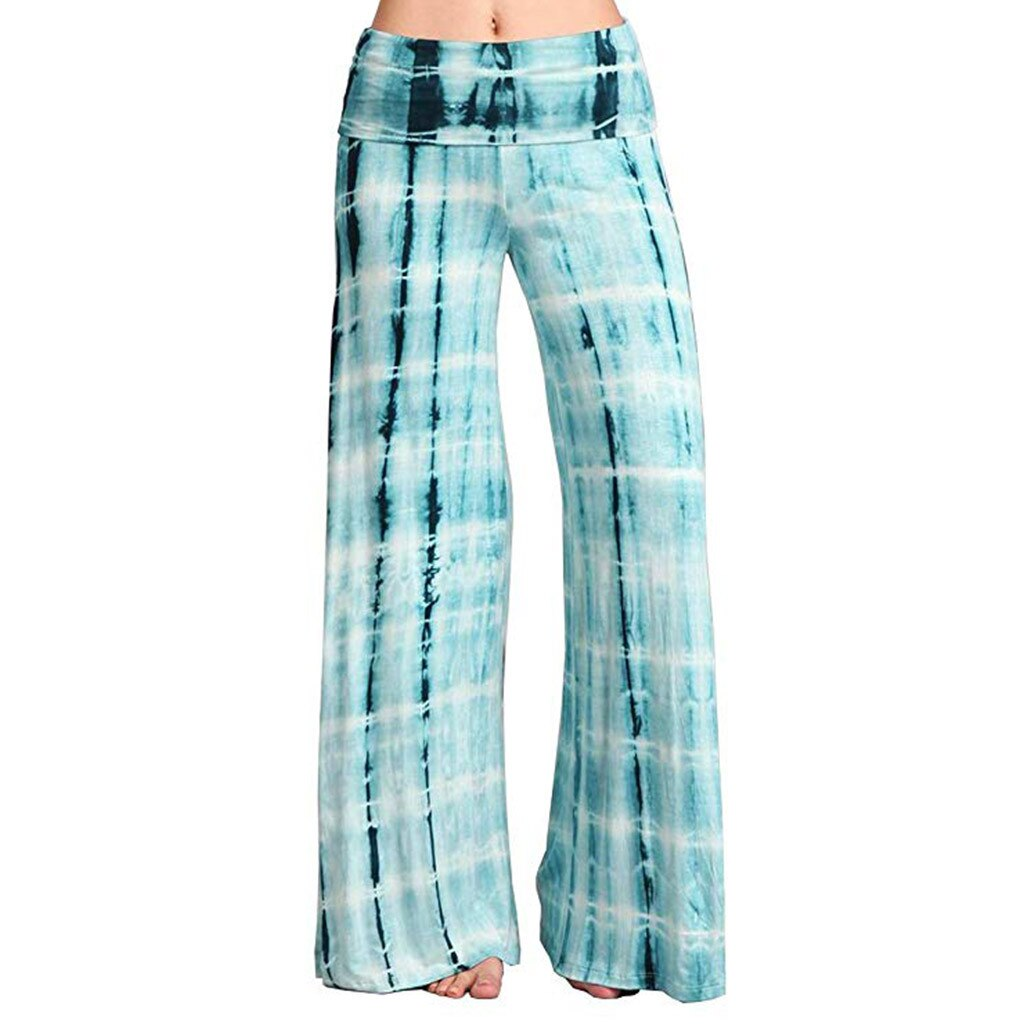 Woman Casual Yoga Pants wide Leg Print Sports Bohemia Hips High Waist Thread Palazzo Breathable Gym Clothing Loose Sport Wear