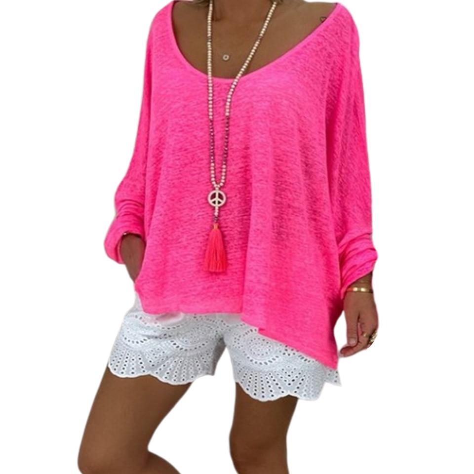 Camiseta lisa de gran tamaño con cuello redondo talla grande y hombros descubiertos 5xl para mujer camisa Hipster de Color sólido murciélago Suelto camisa de manga larga