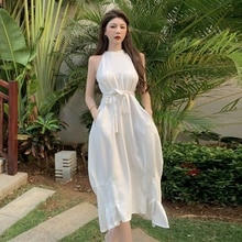 Cold Style Women's High-Grade Waist Mid-Length Halter round Neck Dress Summer Sleeveless Holiday Bea
