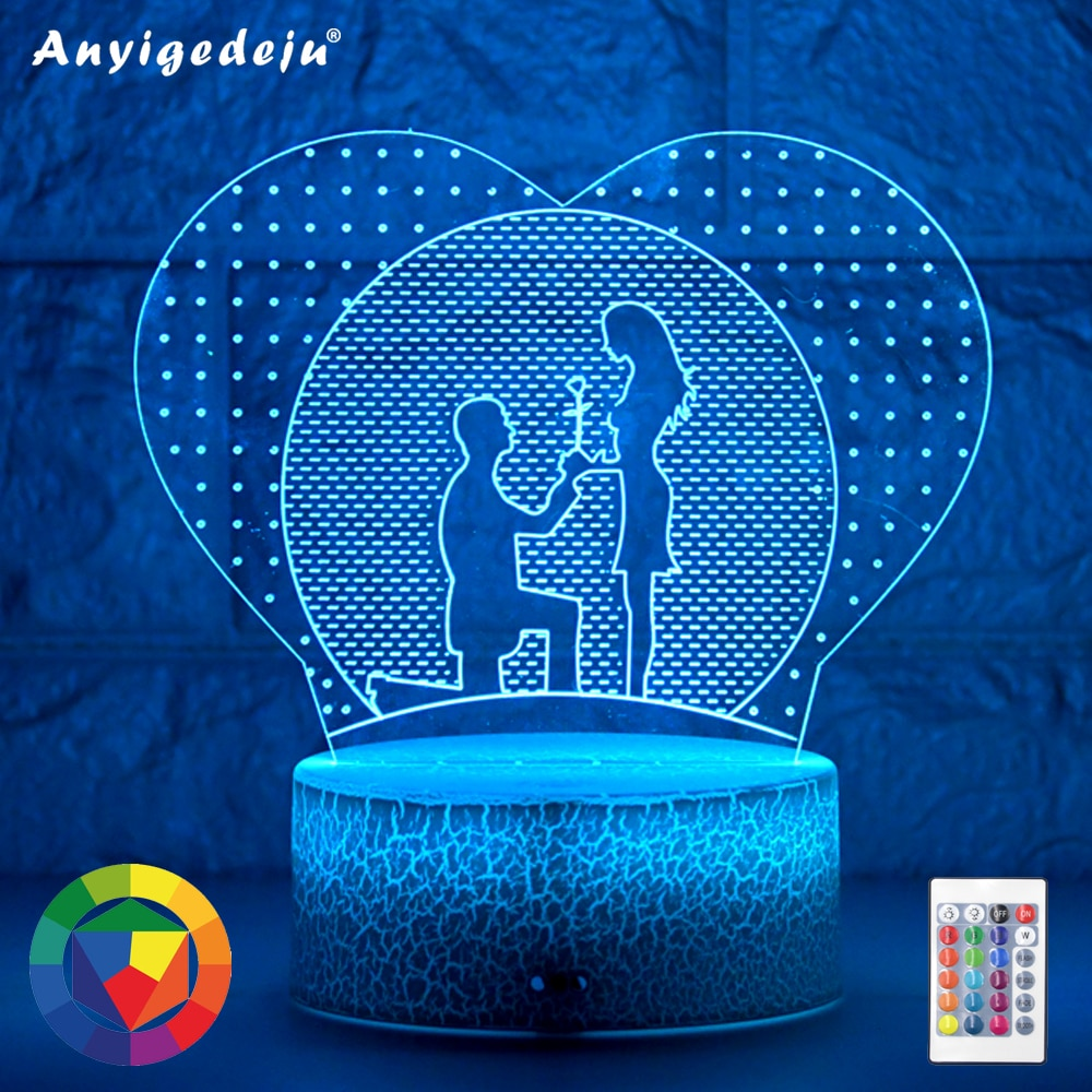 Newest Kids Light Night 3D LED Night Light Creative Table Bedside Lamp Romantic proposal light Kids Gril Home Decoration Gifts kids light night 3d led night light creative table bedside lamp unicorn light kids home decoration toys gift 3d led lamp 7 color