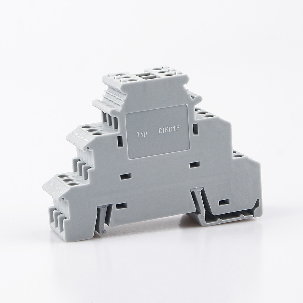 Din Rail Terminal Block 10Pcs DIKD-1.5 Three Layer 3 Level Sensor Actuator Triple Wire Connector DIKD1.5 Wire Conductor