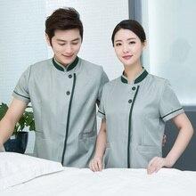 Manches courtes femmes chambre dhôtel nettoyage personnel uniformes propre salopette vêtements de travail hommes serveuse uniforme serveuse
