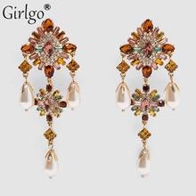 Emingo Vintage magnifique ZA perles boucles doreilles cerceau pour les femmes Boho élégant cristal brillant goutte balancent boucle doreille bijoux fête de mariage