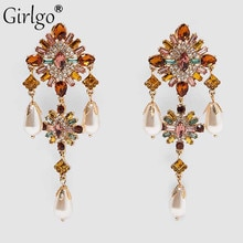 Girlgo vintage lindo za pérolas brincos de argola para mulheres boho elegante cristal brilhante gota balançar brinco jóias festa de casamento