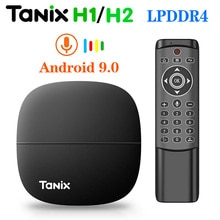 Tanix h1 h2 caixa de tv android 9 9.0 tvbox 2g/16g 1g/8g lpddr4 hisilicon hi3798m quad core 4 k 30fps h.265 2.4g wifi youtube netflix