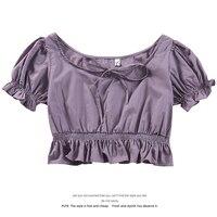 White Shirt Women\'s 2021 Amoi Puff Sleeve Short Top Drawstring Square Collar Collarbone T-shirt Design Sense Waist Trimming