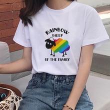 Klassische Regenbogen Schafe T-shirt Männer und Frauen Stolz Lgbt Homosexuell Lesben Regenbogen Drucke Harajuku Casual T Shirt Unisex Paar Kleidung