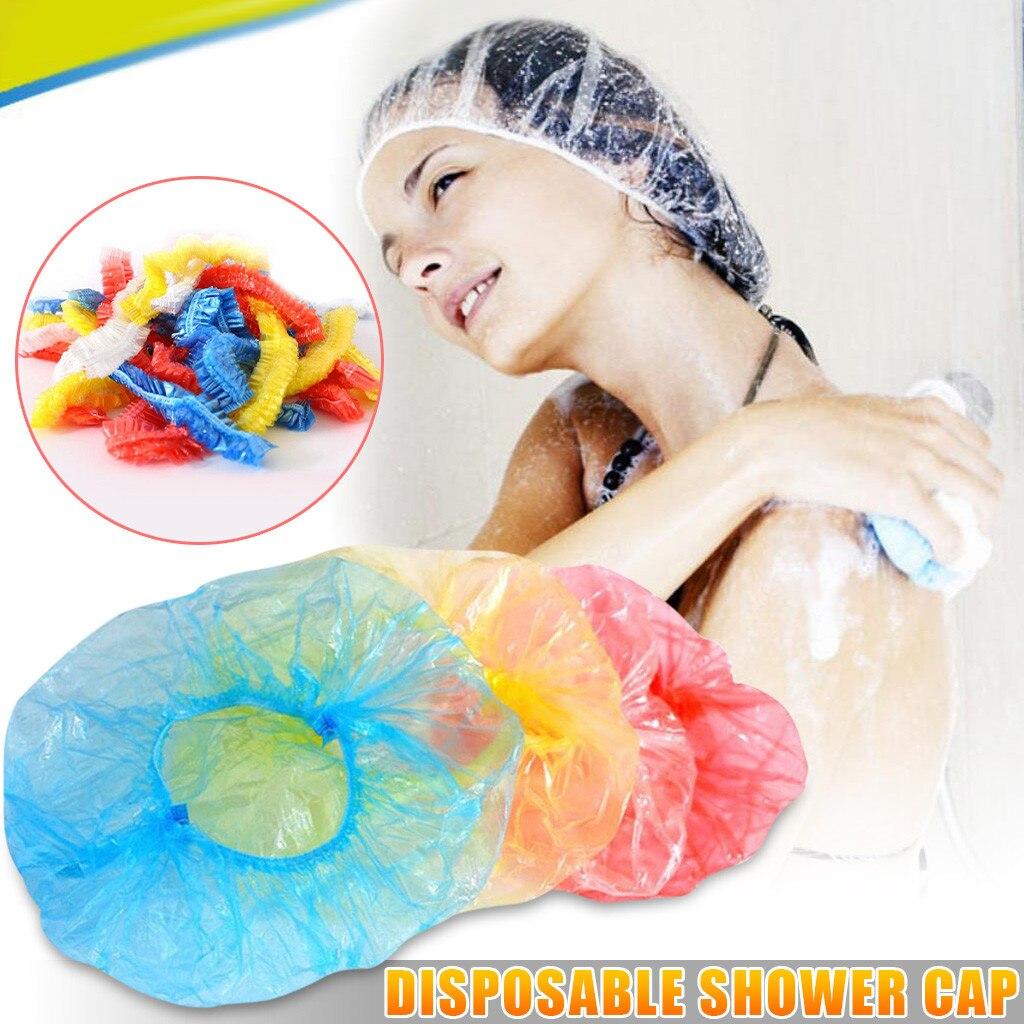Boné de chuveiro de plástico descartável, boné para banheiro, boné elástico para o banheiro, para salão de beleza e spa, hotel, 100 peças #20