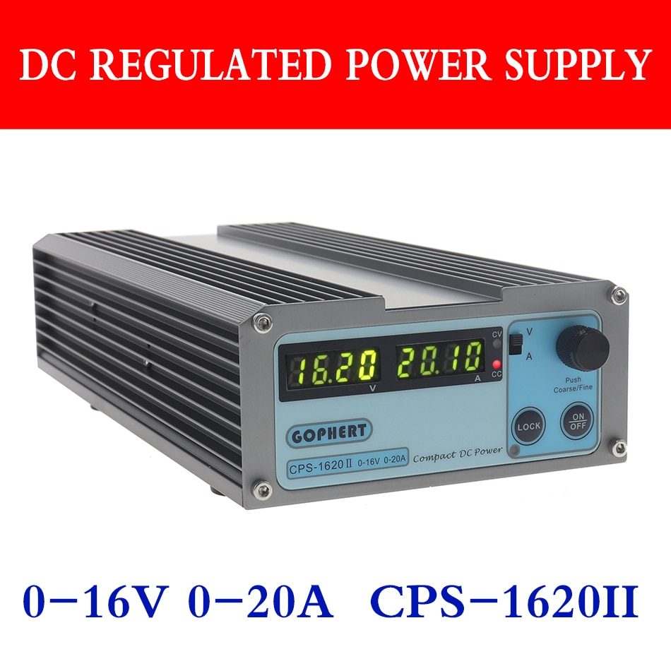 gophert cps 1620 dc fonte de alimentacao de comutacao unica saida 0 16v 0 20a display