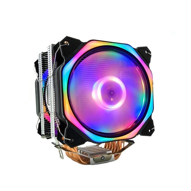12cm enfriador de CPU de doble LED Fan 6 de tubería de calor 4Pin CPU ventilador Cpu disipador de calor para 775/1150/1155/1156/1366 para AMD todo