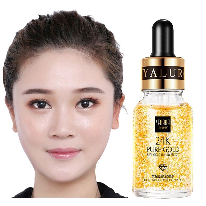 24K Gold Hyaluronic Acid Face Serum Replenishment Moisturize Shrink Pore Brighten Skin Care Lift Firming Essence недорого