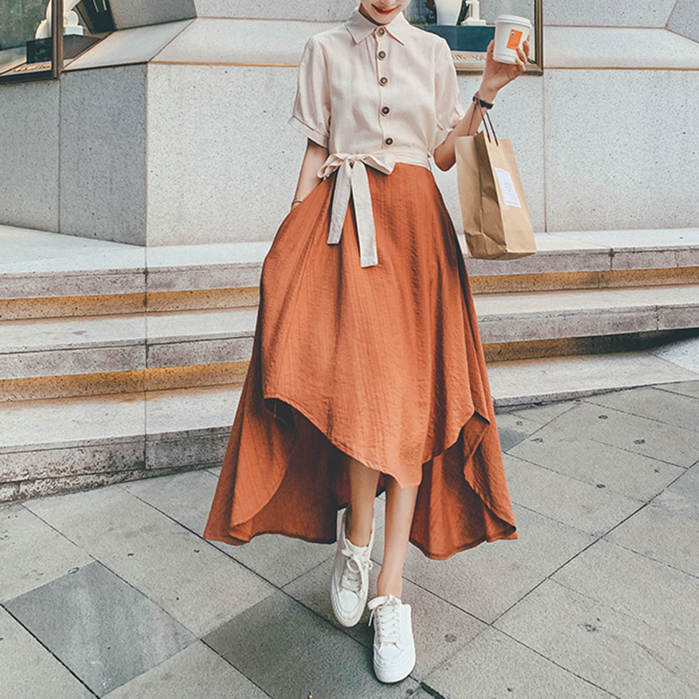 Japanese Style Summer New Color Contrast Splicing Women's 2021 Dress Retro Solid Color Lapel Short Sleeve Irregular Loose Casual