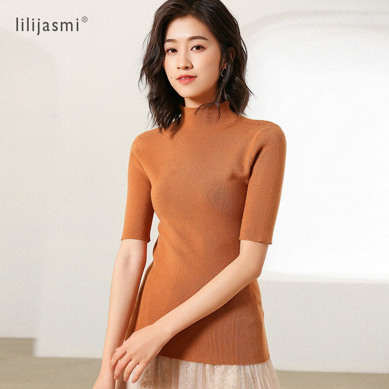 Women's Half Turtleneck Short Sleeve Knitted Pullover Sweater Slim Basic Knitwear Korea Asian Style Summer Fall Cool Tee