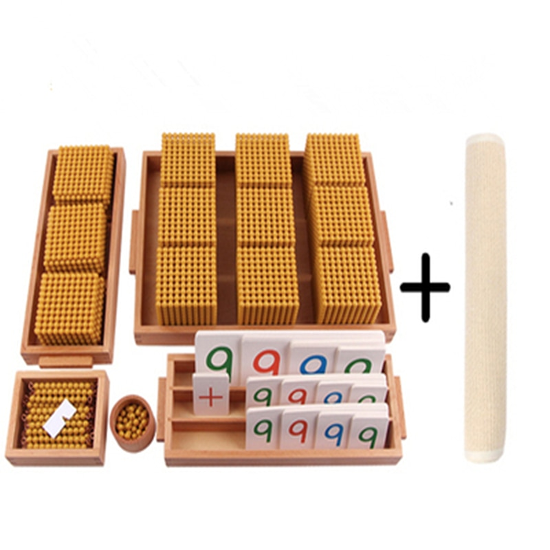 مجموعة مواد الخرز الذهبي مونتيسوري لعبة البنك ث/عدد البطاقات لنظام العشري ممارسة الاطفال الرياضيات اللعب أداة التعلم