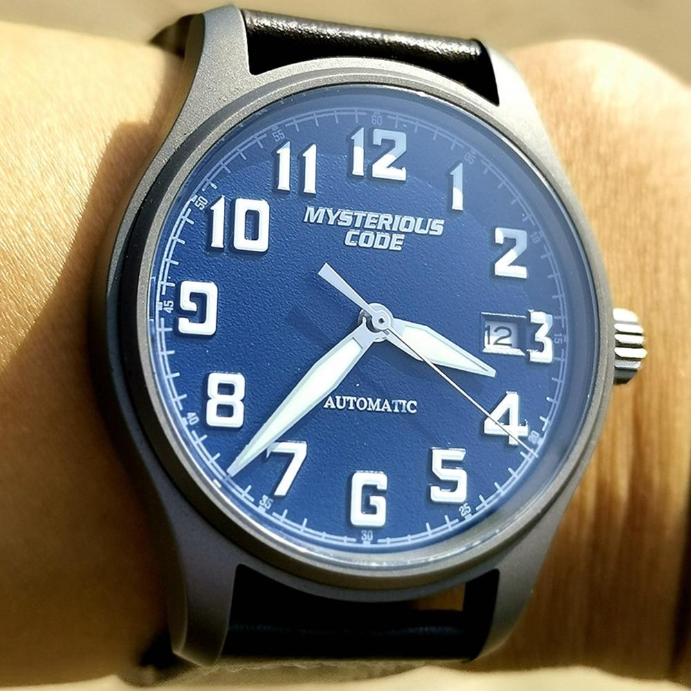 ساعة رجالية أوتوماتيكية من التيتانيوم NH35 ، ساعة يد ميكانيكية ، لف تلقائي ، ياقوت ، كريستال ، مضيئة