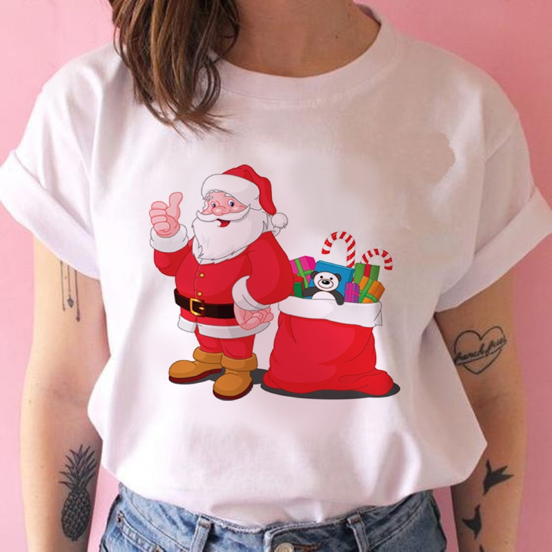 Nueva camiseta Kawaii Santa Claus moda mujer Navidad Harajuku camisetas de manga corta blanco adecuado Feliz Año Nuevo camiseta ropa
