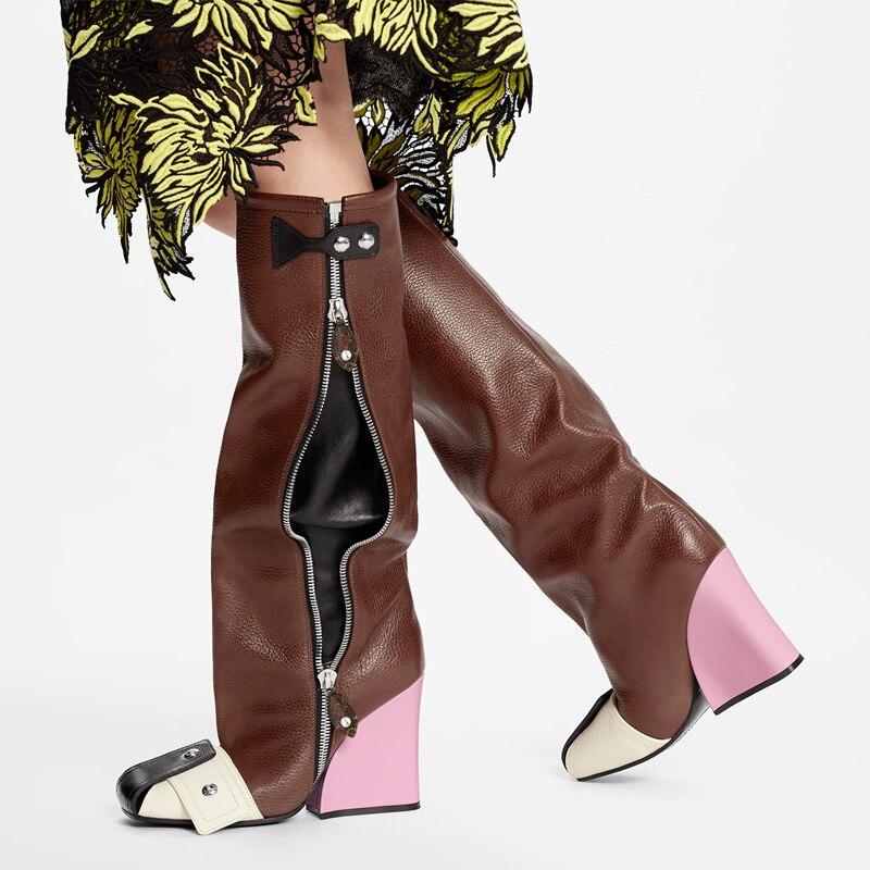 حذاء برقبة للركبة السيدات ساحة المنصة موضة كعب مارتن الأحذية ساحة تو الانزلاق على اللون مطابقة مختلط اللون مشبك برشام الأحذية