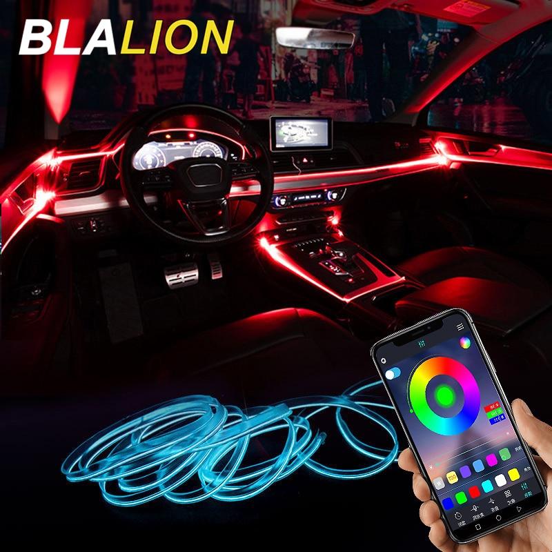 Car Atmosphere Lights EL Neon Wire Strip Light RGB Multiple Modes App Sound Control Auto Interior Decorative Ambient Neon Lamp