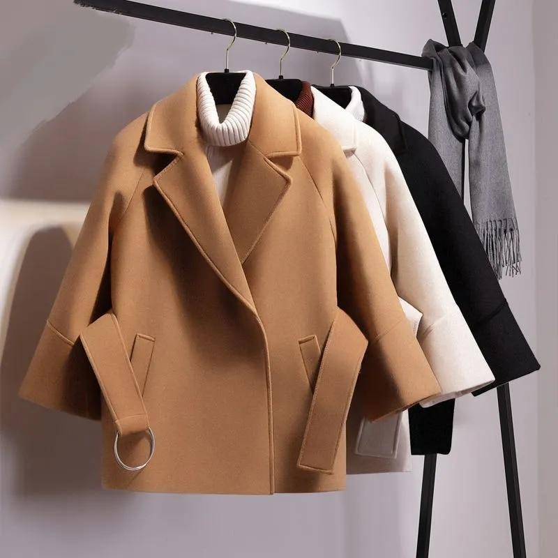 حجم كبير المرأة قصيرة الصوف مزيج سترة الخريف الشتاء بلون بدوره إلى أسفل طوق حزام معطف الصوف شيك الإناث الكشمير أبلى