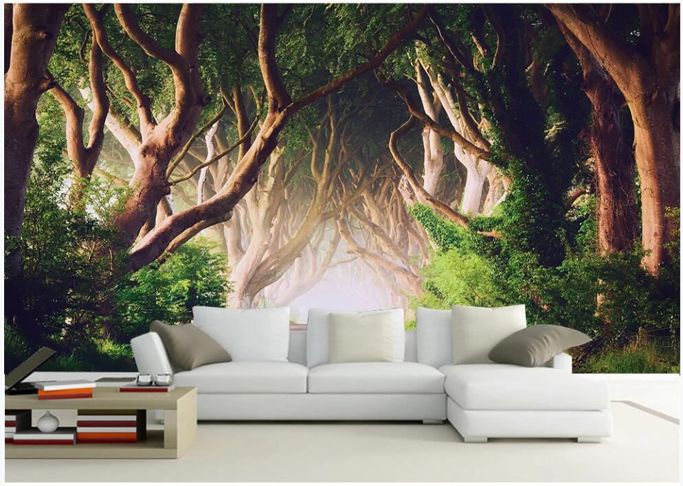 Mural personalizado papel pintado con foto 3d belleza bosques verdes árboles de Fondo de Televisión habitación decoración papel para pared 3 d