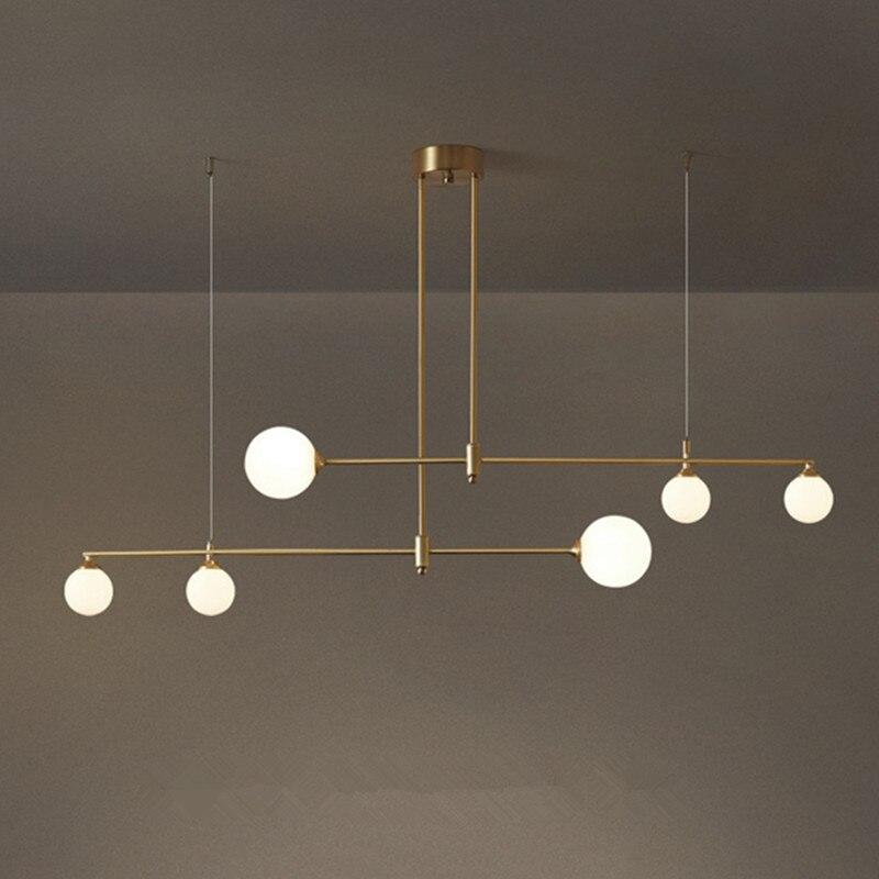 الحديثة قلادة طويلة ضوء كرة زجاجية نجفة غرفة الطعام الخطي قلادة ديكور فني مصمم المطبخ قلادة مصباح