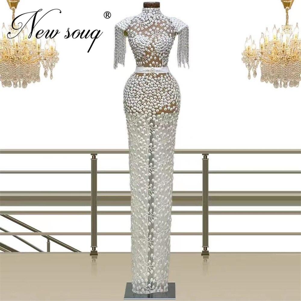 فساتين سهرة باللؤلؤ الأبيض لحفلات الزفاف 2021 العربية دبي فستان طويل الوهم للحفلات الراقصة الشرق الأوسط فستان حفلات المشاهير