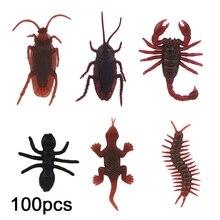 100 Pcs Streich Gefälschte Kakerlaken/Gecko/Ant/Centipede Lieblings Scary Trick Witz Spielzeug BX0D