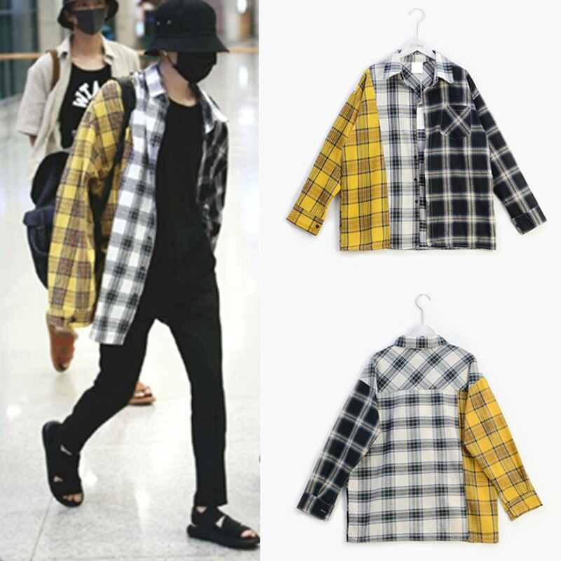 Kpop exo got7 jin suga mesmo feitiço coreano cor xadrez camisa camisolas k-pop primavera outono harajuku amarelo casaco com capuz