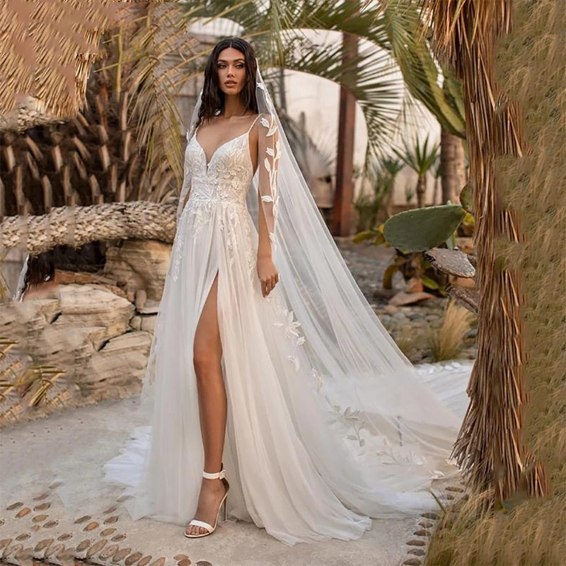 Get Luxury A-Line Wedding Dresses V Neck Spaghetti Straps Gowns 3d Three-Dimensional Applique Sexy High Split vestido de novia
