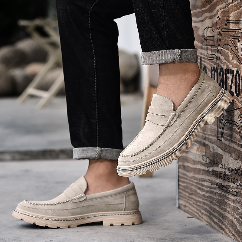 new suede leather with mesh shoe men breathable casual shoes leather flats plus size soft driving men shoes loafers moccasins Suede Leather Casual Shoes Men Slip On Loafers Moccasins Outdoor Flats Shoes Plus Size Walking Men Shoes Zapatillas Hombre