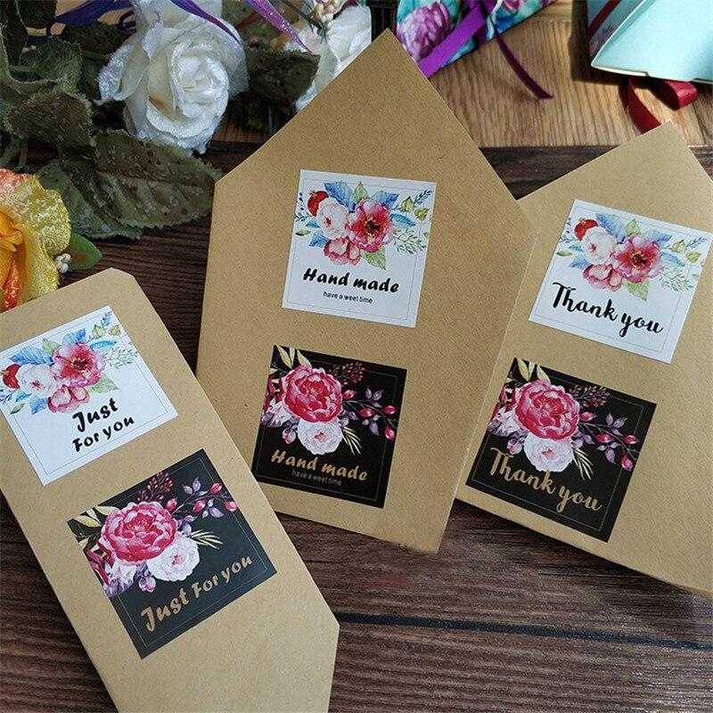 1200 unids/lote flor Kawaii cuadrado gracias sólo por usted sellado paquete etiqueta DIY pegatina sello multifunción regalo