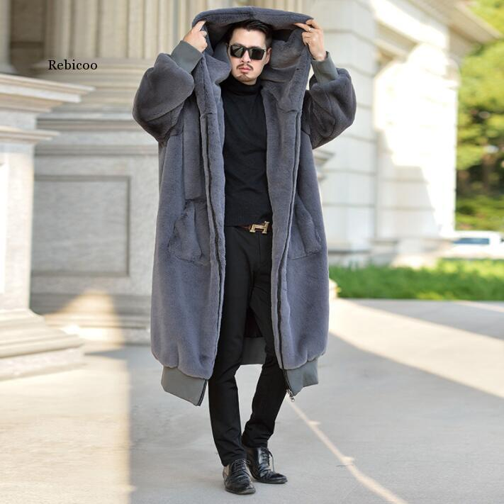 Autumn robe faux mink fur leather jacket mens winter thicken warm fur leather coat men loose jackets hooded