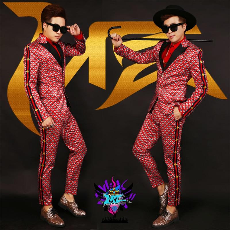 Male Singer Performance Red Print Clothing men's Slim Suit Jacket Personality Trend men's Nightclub Male DJ Suit Bar Tide Set