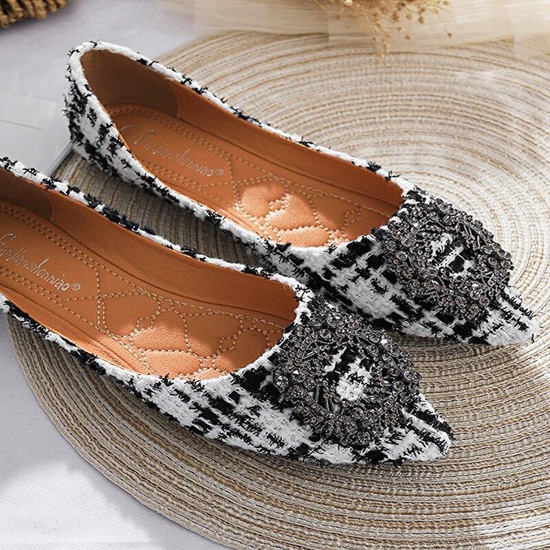 2020 zapatos de Primavera Verano mujeres pisos marca Slip-on Casual zapatos náuticos para mujer señoras de la Oficina suave zapatos de gran tamaño 42 negro blanco N034