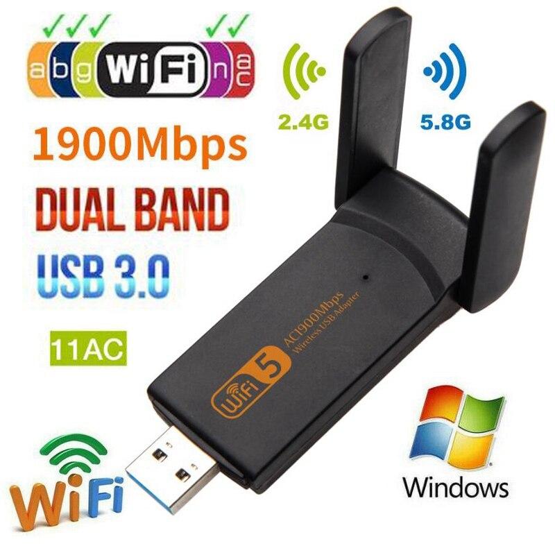 Tarjeta de red Usb 1900 inalámbrica de 3,0 Mbps 802.11Ac de doble banda 2,4G/5,8 Ghz Wifi W3S4