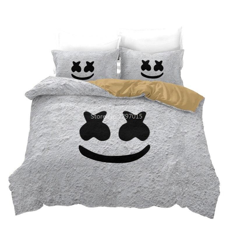 الأبيض الخطمي ثلاثية الأبعاد المطبوعة طقم سرير أغطية سرير المفارش الكبار الاطفال الملك الحجم المعزي مجموعة غطاء لغرفة النوم الديكور