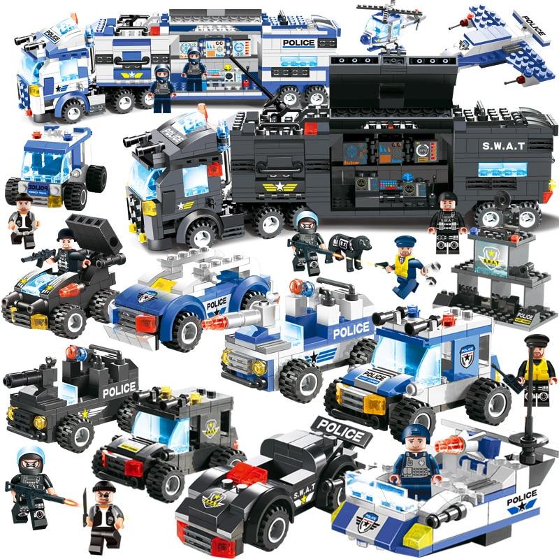 8 em 1 cidade polícia série estação de polícia blocos de construção tijolos diy brinquedos educativos para crianças compatíveis com blocos marca